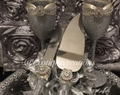 Toasting Flutes and Cake Cutter Set-Silver and Ivory, cake server set, champange glasses