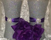 Vase Centerpieces -Set of 2 Silver Bling with Purple Ribbon and Silver Brooch