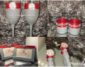 Silver Bling 8pc Wedding Set with Red Ribbon, Bride and Groom Gift