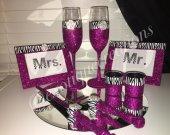 Fuschia and Zebra Print 8pc Wedding Set. Wedding Gift, Toasting Flutes, Bridesmaid Gift