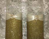 Wedding Centerpieces, glitter vases, gold wedding, wedding bouquet holder