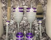 Silver Bling and Purple 6pc Wedding Set, Bride and Groom Gift Set
