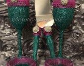 Wedding Champagne Flutes- Turquoise and Fucshia Sets, Toasting Flutes