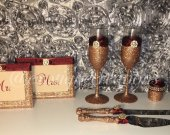 Rose Gold and Marsala Toasting Flutes-Cake Cutter Set-Candle Holders and 4x6 Frames