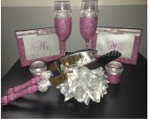 Pink Mauve and Gray Toasting Flutes-Cake Cutter Set-Candle Holders and 4x6 Frames