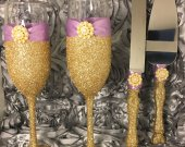 Gold and Lavender  Toasting Flutes and Cake Cutter Set