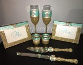 8pc Wedding Set , Spa Blue, brides gift, cake cutter, toasting flutes
