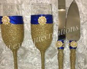 Gold and Royal Blue Toasting Flutes Bride and Groom Gift, Champangne Flutes, Wedding Gift, Bridesmaid Gift.