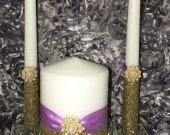 Unity Candle Set Gold and Lavender