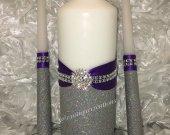 Unity Candle Set Purple Bling, Wedding