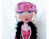 Fashion doll Unique gift Handmade Home decor Cute Art  Boudoir Collecting Fabric Soft Rag For her Shelf sitter Custom