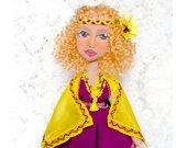 Gift for women Boho Fashion doll Boudoir Textile Cloth Art Fabric Cotton Rag Original Shelf decor Unique Handmade Custom