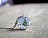 Winter Pinus Deer - Snow Dry flower Necklace