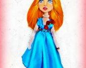 Handmade doll Unique gift  Home decor Cute Art Fashion Boudoir Collecting Fabric Soft Rag For her Shelf sitter Custom