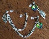 Triple Piercing Nature Leaf Heart Earrings