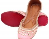 Indian ethnic shoes with stones and pearls work, Flat slip ons, mojari - HNM-FWS-100033
