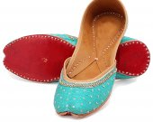 Indian shoes with stones and thread work, Flat slip ons, mojari - HNM-FWS-100010