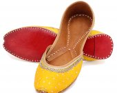 Indian shoes with stones and thread work, Flat slip ons, mojari - HNM-FWS-100011