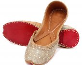 Indian shoes with stones and thread work, Flat slip ons, mojari - HNM-FWS-100040