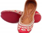 Indian ethnic shoes with stones and pearls work, Flat slip ons, mojari - HNM-FWS-100031