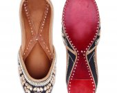Indian ethnic shoes with stones and pearls work, Flat slip ons, mojari - HNM-FWS-100032