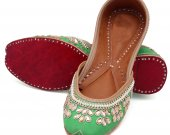 Indian ethnic shoes with stones and pearls work, Flat slip ons, mojari - HNM-FWS-100034