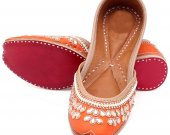 Indian ethnic shoes with stones and pearls work, Flat slip ons, mojari - HNM-FWS-100035
