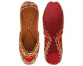 Indian shoes with goongroo and delicate zardosi work, Flat slip ons, mojari - HNM-FWS-10009
