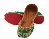 Indian shoes with goongroo and delicate zardosi work, Flat slip ons, mojari - HNM-FWS-10008