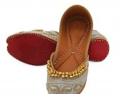 Indian shoes with goongroo and delicate zardosi work, Flat slip ons, mojari - HNM-FWS-10002