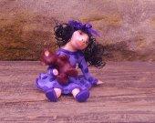 Girl With Teddy Bear Polymer Clay Sculpture