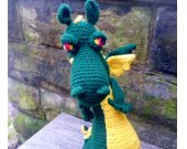 Hunter Green Toy Dragon - Crochet/Amigurumi