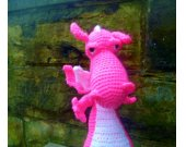 Bright Pink Toy Dragon - Crochet/Amigurumi