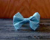 Boy's Bow Tie - Light Blue with Polka Dots Print
