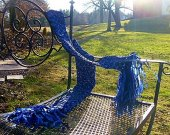 Crochet Blue Ribbon Scarf