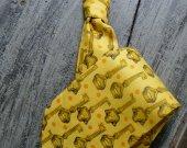 Necktie - Yellow and Gold Skeleton Key Print