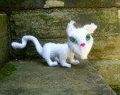 Scary Cat - White Crochet Amigurumi Stuffed Animal/Doll