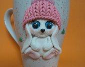 "Mug with the decor ""Cute Bunny"" handmade from polymer clay."