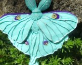 "Brooch butterfly ""Saturnia moon"" hand made of polymer clay."