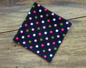 Pocket Square/Handkerchief -Men's Handmade Black with Polka Dots