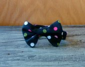 Boy's Bow Tie - Black with Polka Dots
