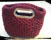 Handmade Crochet Burgundy Handbag / Everyday Bag / Handmade purse