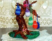 The West Woods Easter Egg Tree - Polymer Clay Sculpture/Crochet Easter Decoration