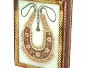 Marble Jewellery Box With Open Dazzling Kundan Necklace HNM-HMRH-10031
