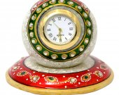 Marble paperweight style clock with beautiful meena work HNM-HMRH-10008