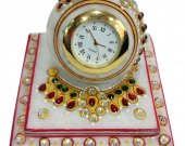 Marble paperweight style clock with heavy meena work HNM-HMRH-10009