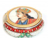 Marble Tea coaster with rajpooti traditional print HNM-HMRH-10057