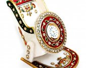 Marble with Meenakari Mobile Stand with Clock HNM-HMRH-100010