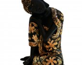 Beautiful Floral Design Black Dhyan Pose Buddha Resin Statue HNM-HHDE-10002