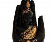 Fiber Palm Buddha In Black With Gold Details HNM-HHDE-10005